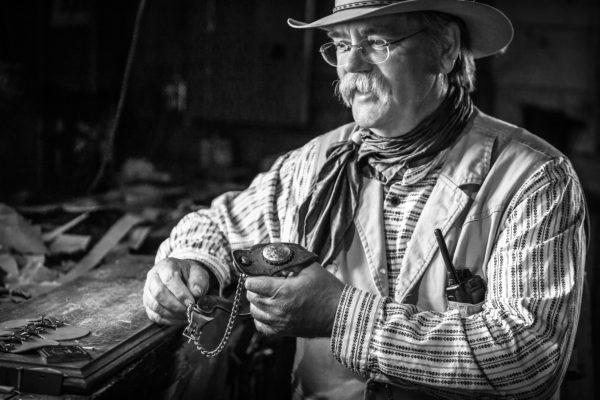 The saddle maker at a historic ranch, Alberta, Canada